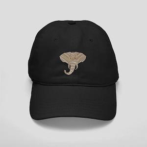 Silver Metallic Elephant Head Black Cap with Patch