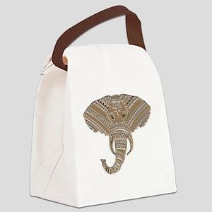 Silver Metallic Elephant Head Canvas Lunch Bag