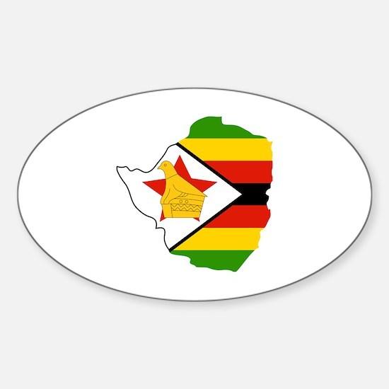 Unique Zimbabwe flag Sticker (Oval)