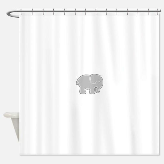 Grey Cartoon Silhouette Baby Elepha Shower Curtain