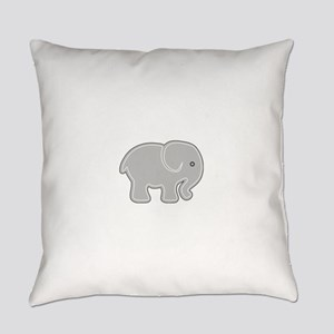 Grey Cartoon Silhouette Baby Eleph Everyday Pillow