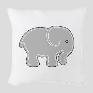 Grey Cartoon Silhouette Baby E Woven Throw Pillow