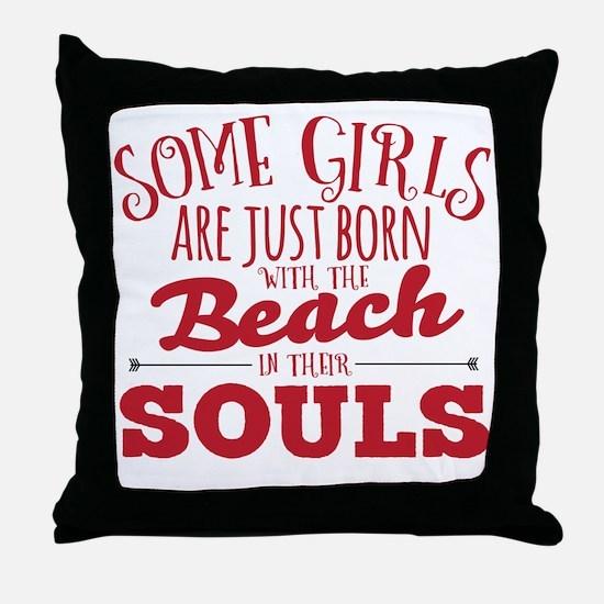Funny beach Throw Pillow