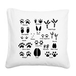 Animal Tracks Collection 1 Square Canvas Pillow