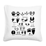 Animal Tracks Collection 2 Square Canvas Pillow