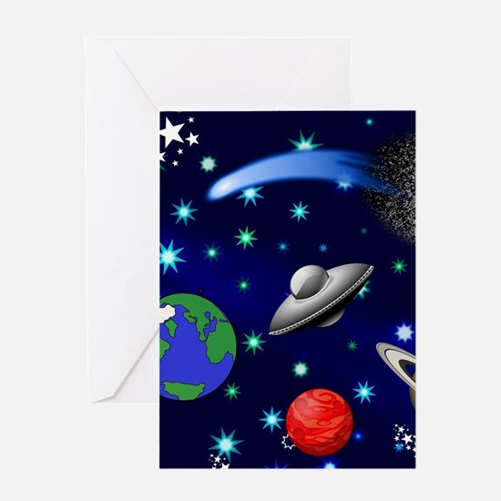 Kids Galaxy Universe Illustrations Greeting Cards