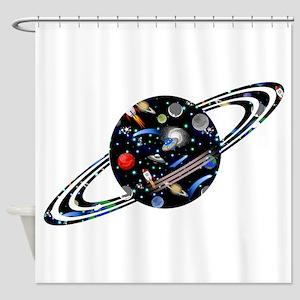 Kids Galaxy Universe Planet Illustr Shower Curtain