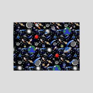 Kids Galaxy Universe Illustrations 5'x7'Area Rug