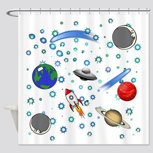 Kids Galaxy Universe Illustrations Shower Curtain