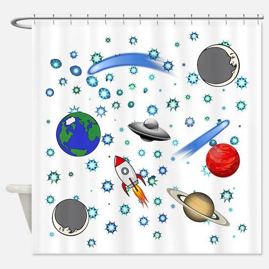 Kids Galaxy Universe Illustrations Shower Curtain