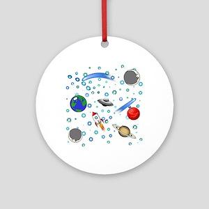 Kids Galaxy Universe Illustrations Round Ornament