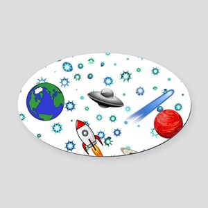 Kids Galaxy Universe Illustrations Oval Car Magnet