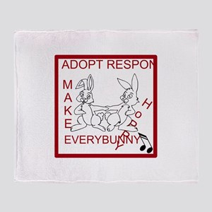 Adopt Rabbit Responsibly Throw Blanket