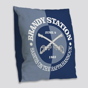 Brandy Station (BG) Burlap Throw Pillow