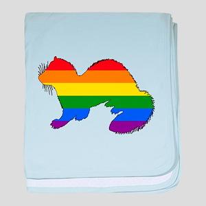 Rainbow Ferret baby blanket