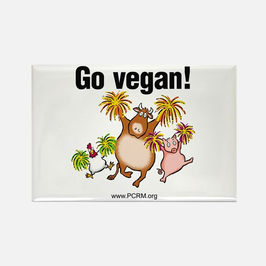 Go Vegan! Cheer Rectangle Magnet