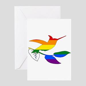 Rainbow Hummingbird Greeting Cards