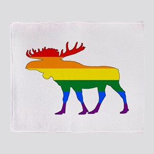 Rainbow Moose Throw Blanket