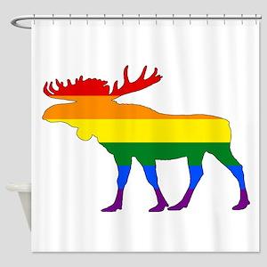 Rainbow Moose Shower Curtain