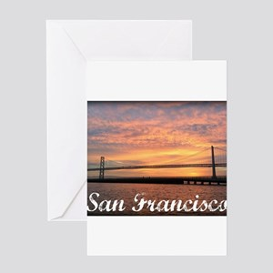 Sunrise Over The Golden Gate Bridge Greeting Cards