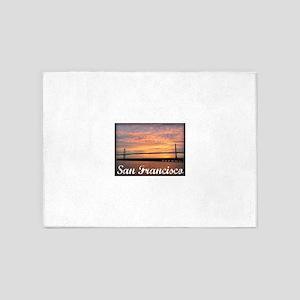 Sunrise Over The Golden Gate Bridge 5'x7'Area Rug