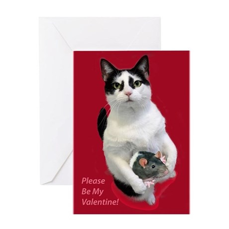 Valentineu0027s Day Cat With Mouse Greeting Cards