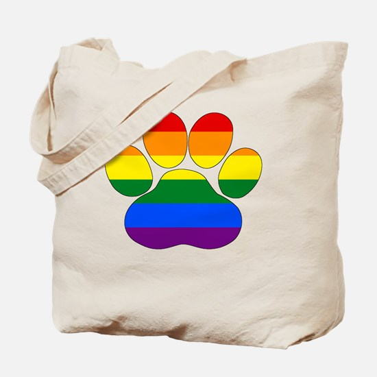 Funny Rainbow paws Tote Bag
