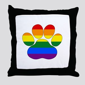 Rainbow Paw Throw Pillow