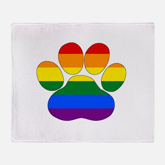 Rainbow Paw Throw Blanket
