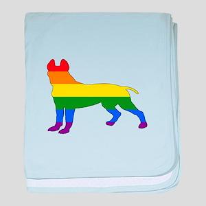Rainbow Pitbull terrier baby blanket