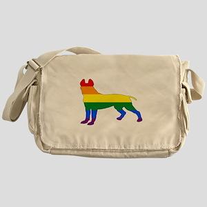 Rainbow Pitbull terrier Messenger Bag