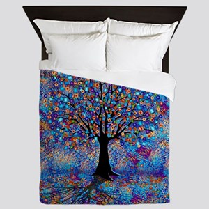Colorful Tree of Life Tree Carnival by Queen Duvet