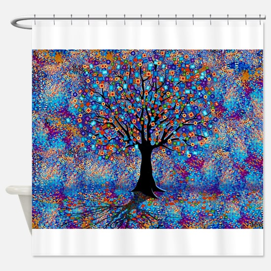 Colorful Tree of Life Tree Carnival Shower Curtain