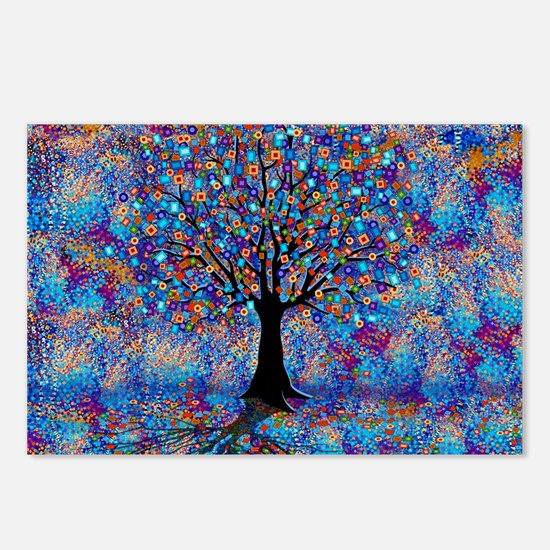 Colorful Tree of Life Tre Postcards (Package of 8)