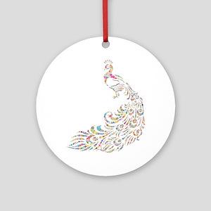 Circle Prismatic Peacock Round Ornament