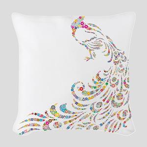 Circle Prismatic Peacock Woven Throw Pillow