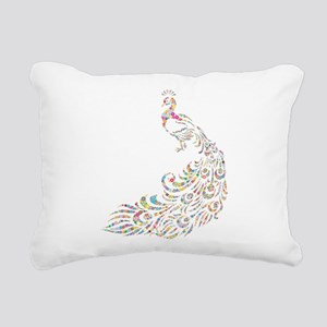 Circle Prismatic Peacock Rectangular Canvas Pillow