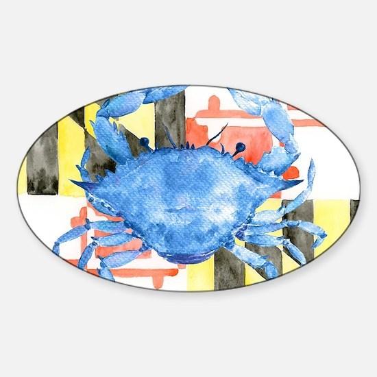 Cute Maryland crab Sticker (Oval)