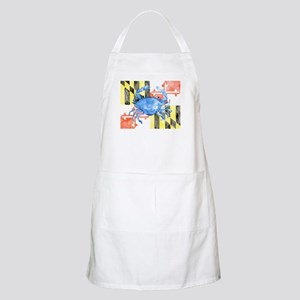 Watercolor Maryland Flag and Blue Crab Apron