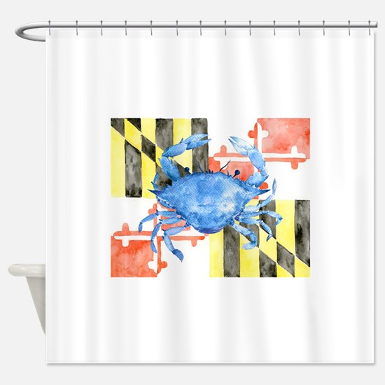 Watercolor Maryland Flag and Blue C Shower Curtain