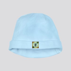 Black Stenciled Leprechaun Hat on Tan baby hat