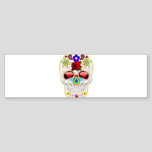 Abstract Rainbow Sugar Skull Bumper Sticker