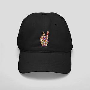 Chromatic Rainbow Peace Hand Sign Black Cap