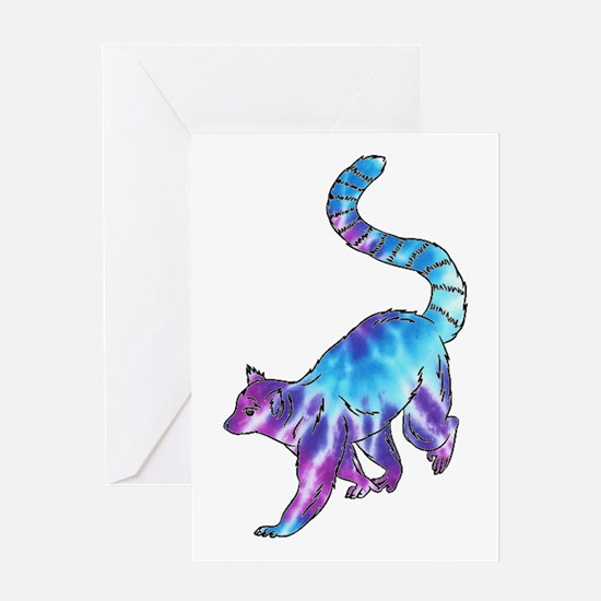 Psychedelic Lemur Greeting Cards