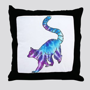 Psychedelic Lemur Throw Pillow