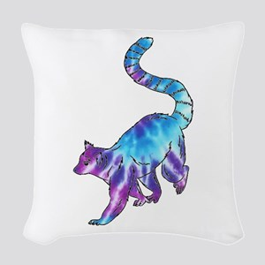 Psychedelic Lemur Woven Throw Pillow