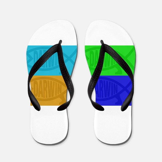 Darwin Fish Pop-Art Flip Flops