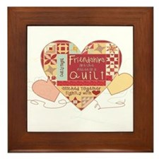Friendships are like Quilts in Hearts Framed Tile