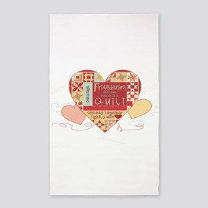 Friendships are like Quilts in Hearts Area Rug