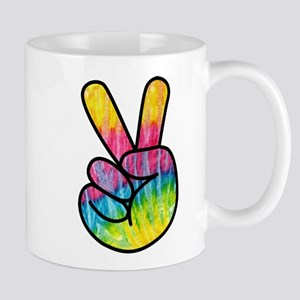 Rainbow Tie-Dye Peace Hand Mugs
